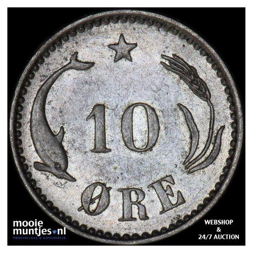 10 ore - Denmark 1891 (KM 795.1) (kant B)