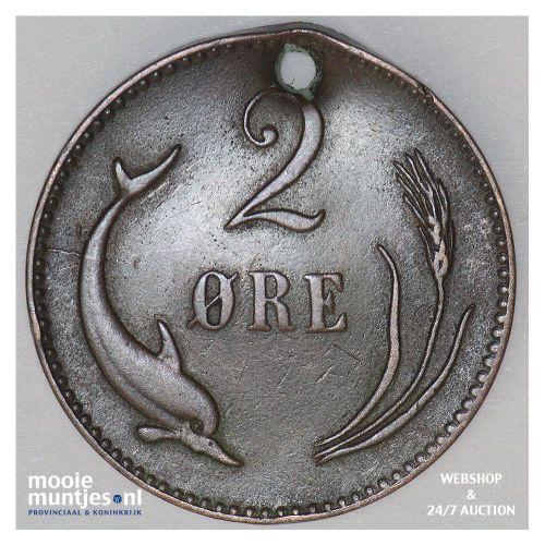 2 ore - Denmark 1876 (KM 793.1) (kant B)