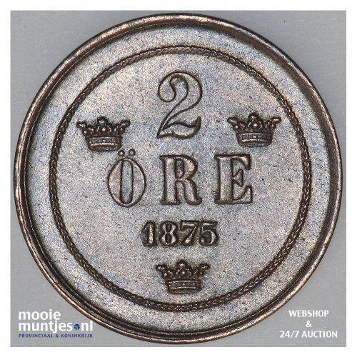 2 ore - Sweden 1875 over 74 (KM 735) (kant A)
