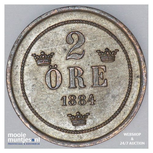 2 ore - Sweden 1884 (KM 746) (kant A)