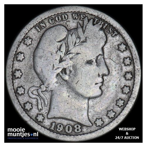 quarter - barber - United States of America 1908 D (KM 114) (kant A)