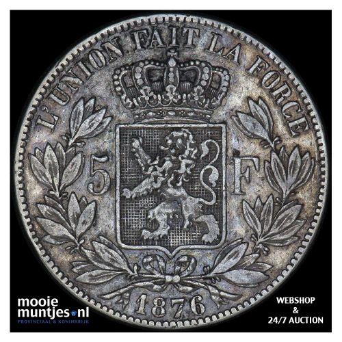 5 francs (5 frank) - Belgium 1876 (KM 24) (kant A)