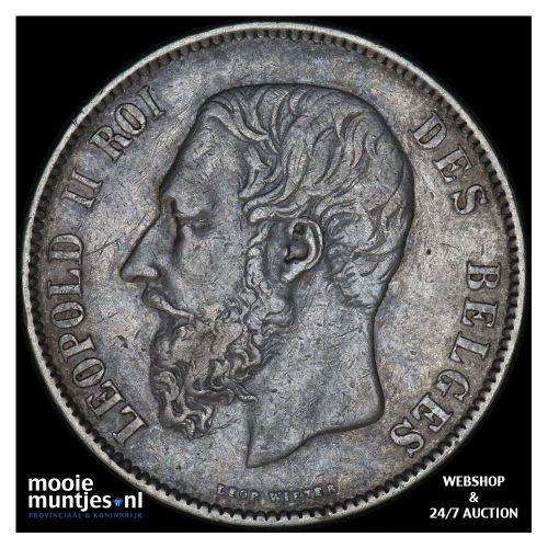 5 francs (5 frank) - Belgium 1876 (KM 24) (kant B)