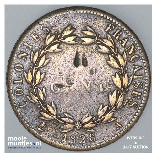 10 centimes - French Colonies 1828 (KM 11.1) (kant A)
