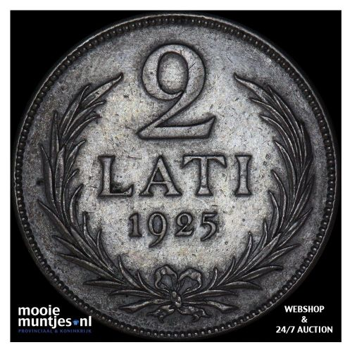 2 lati - first republic - Latvia 1925 (KM 8) (kant A)