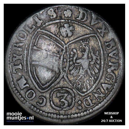 3 kreuzer - Austria 1643 (KM 852) (kant B)