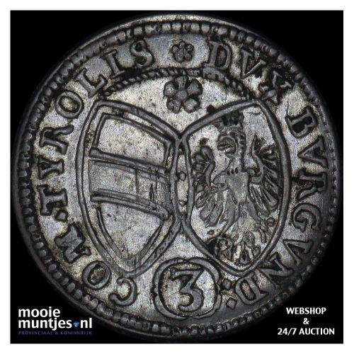 3 kreuzer - Austria 1645 (KM 852) (kant B)