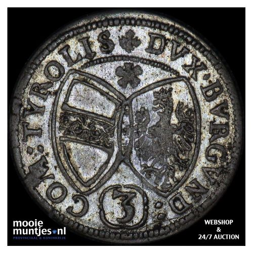 3 kreuzer - Austria 1655 (KM 852) (kant B)