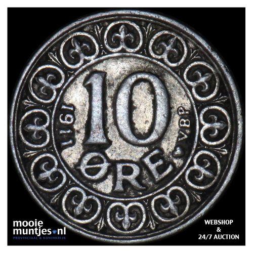 10 ore - Denmark 1911 (KM 807) (kant A)