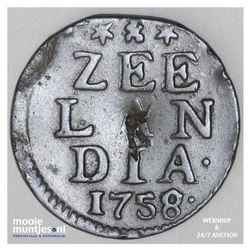 Zeeland - Duit - 1758 over 57 (kant A)