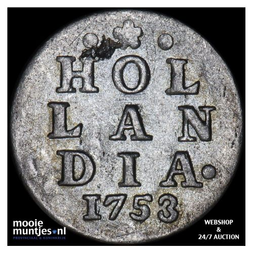 Holland - Dubbele wapenstuiver - 1753 (kant A)