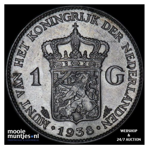 1 gulden - Wilhelmina - 1938 (kant A)
