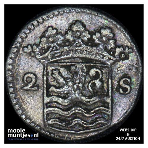 Zeeland - Dubbele wapenstuiver - 1730 (kant B)