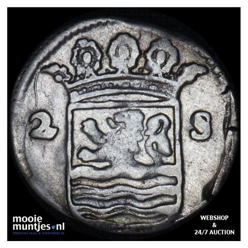 Zeeland - Dubbele wapenstuiver - 1713 (kant B)