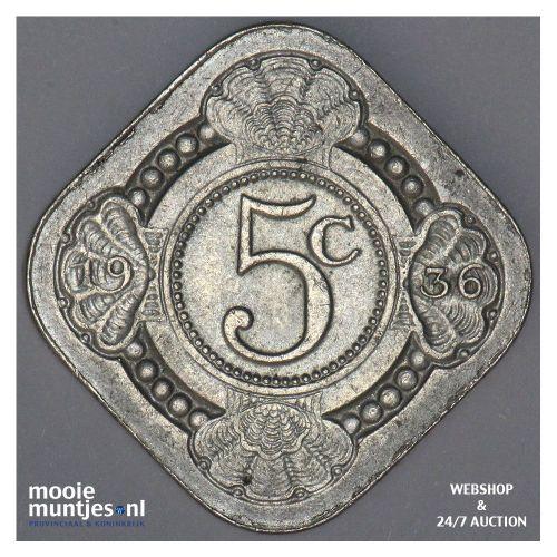 5 cent - Wilhelmina - 1936 (kant A)