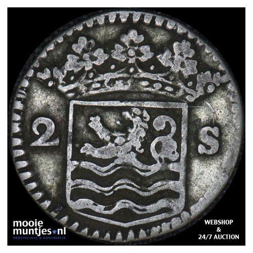 Zeeland - Dubbele wapenstuiver - 1728 (kant B)