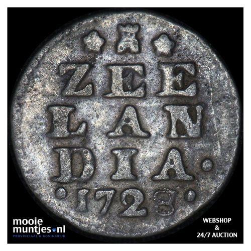 Zeeland - Dubbele wapenstuiver - 1728 (kant A)