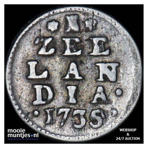 Zeeland - Dubbele wapenstuiver - 1735 over 34 (kant A)