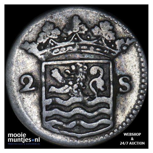 Zeeland - Dubbele wapenstuiver - 1735 over 34 (kant B)
