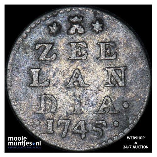 Zeeland - Dubbele wapenstuiver - 1745 (kant A)