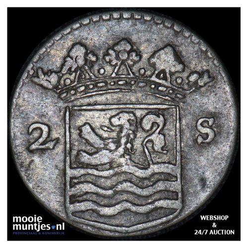 Zeeland - Dubbele wapenstuiver - 1745 (kant B)