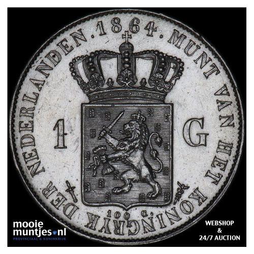 1 gulden - Willem III - 1864 (kant A)
