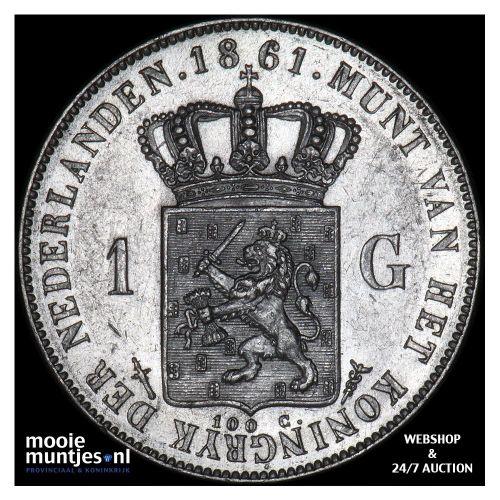 1 gulden - Willem III - 1861 (kant A)