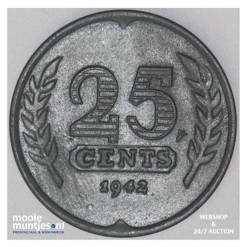 25 cent - Wilhelmina - 1942 (kant A)