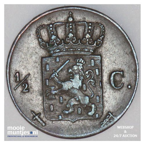½ cent - Willem III - 1862 (kant B)
