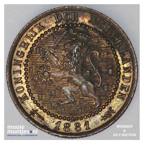 1 cent - Willem III - 1881 (kant A)