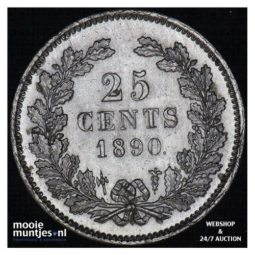 25 cent - Willem III - 1890 (kant A)