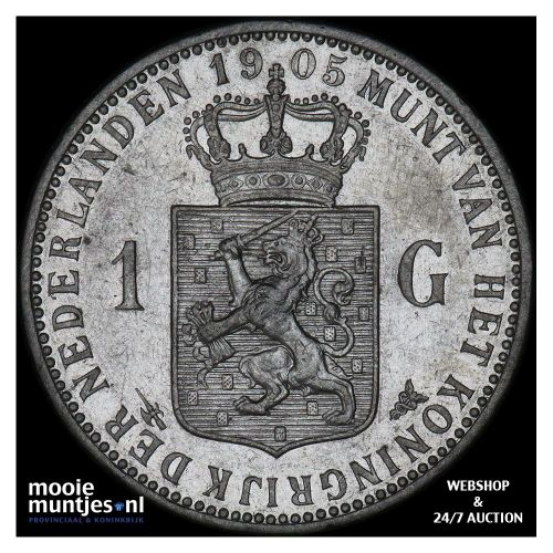 1 gulden - Wilhelmina - 1905 (kant A)
