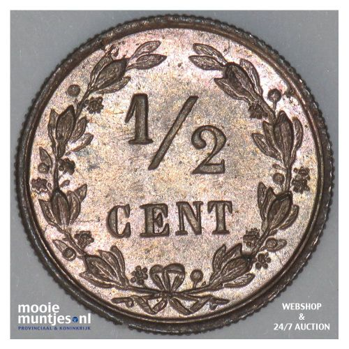 ½ cent - Willem III - 1863 (kant B)