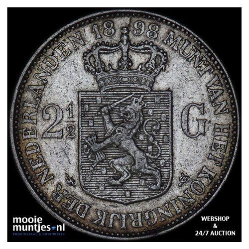 2½ gulden - Wilhelmina - 1898 a (met punt) (kant A)