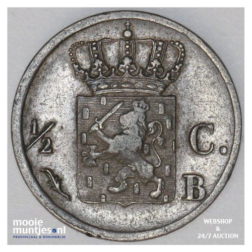 ½ cent - Willem I - 1821 Brussel (kant B)