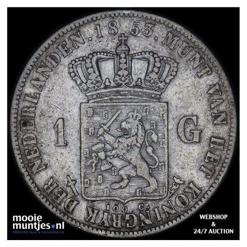 1 gulden - Willem III - 1853 over 51 (kant A)