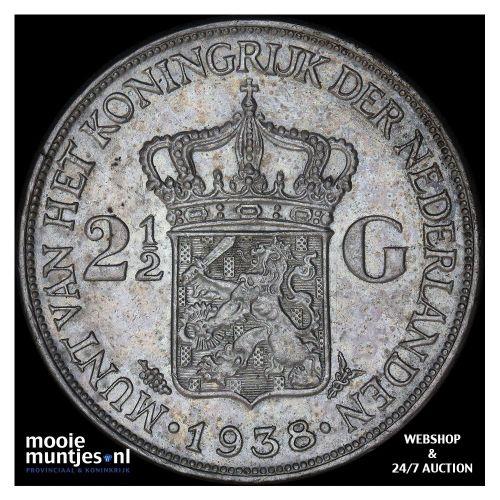 2½ gulden - Wilhelmina - 1938 b (grof haar) (kant A)