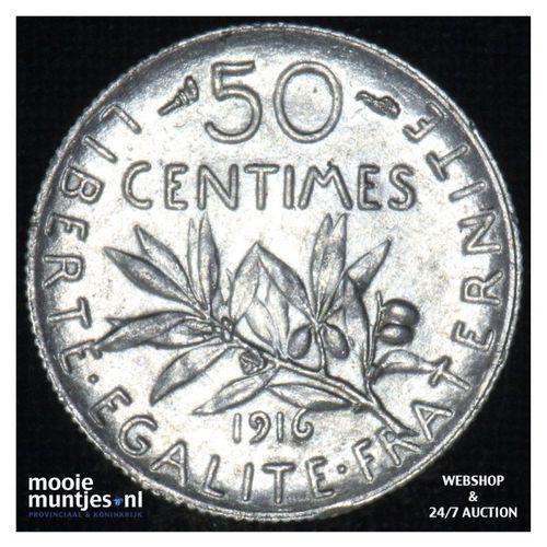 50 centimes - France 1916 (KM 854) (kant A)