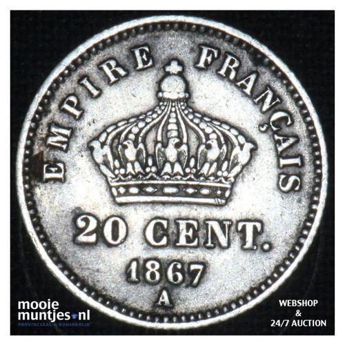 20 centimes - France 1867 A (KM 808.1) (kant A)
