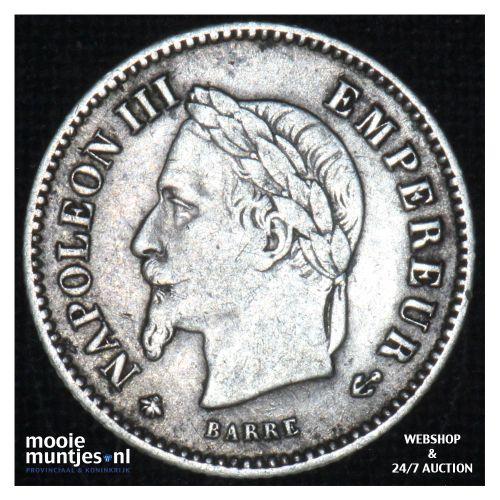 20 centimes - France 1867 A (KM 808.1) (kant B)