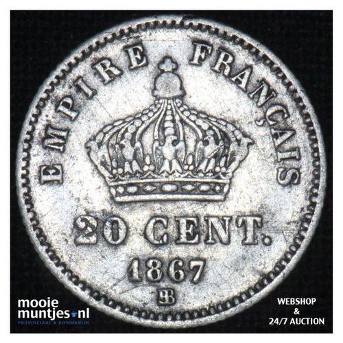 20 centimes - France 1867 BB (KM 808.2) (kant A)