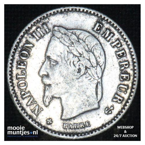 20 centimes - France 1867 BB (KM 808.2) (kant B)