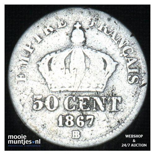 50 centimes - France 1867 BB (KM 814.2) (kant A)