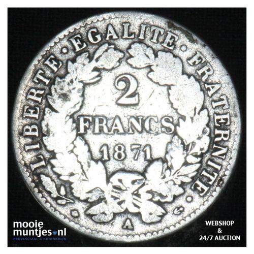2 francs - France 1871 A (small A) (KM 817.1) (kant A)