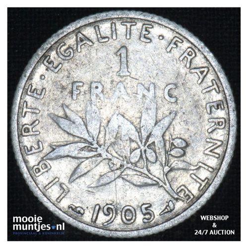 1 franc - France 1905 (KM 844.1) (kant A)