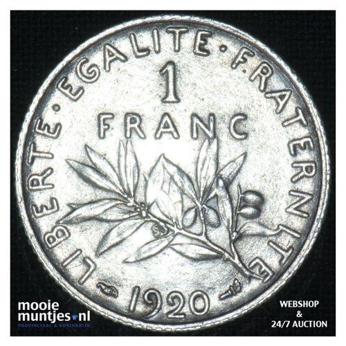 1 franc - France 1920 (KM 844.1) (kant A)