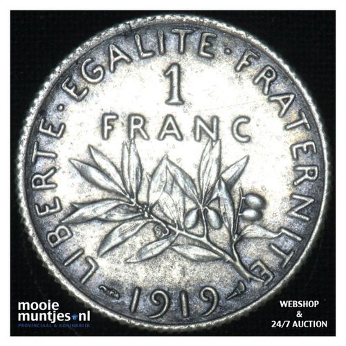 1 franc - France 1919 (KM 844.1) (kant A)