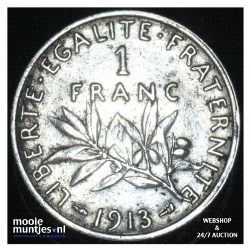 1 franc - France 1913 (KM 844.1) (kant A)