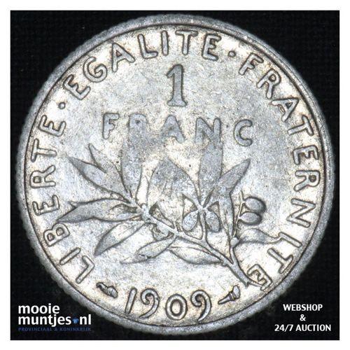 1 franc - France 1909 (KM 844.1) (kant A)