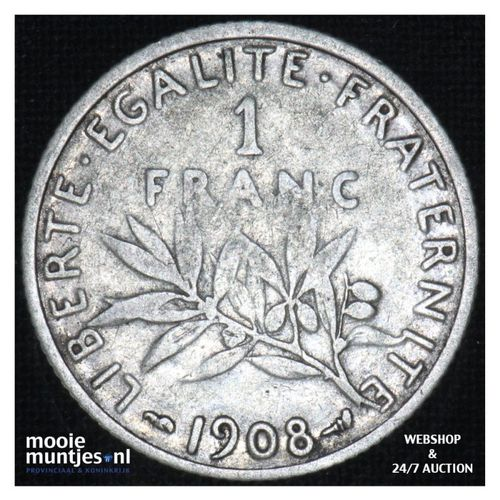 1 franc - France 1908 (KM 844.1) (kant A)